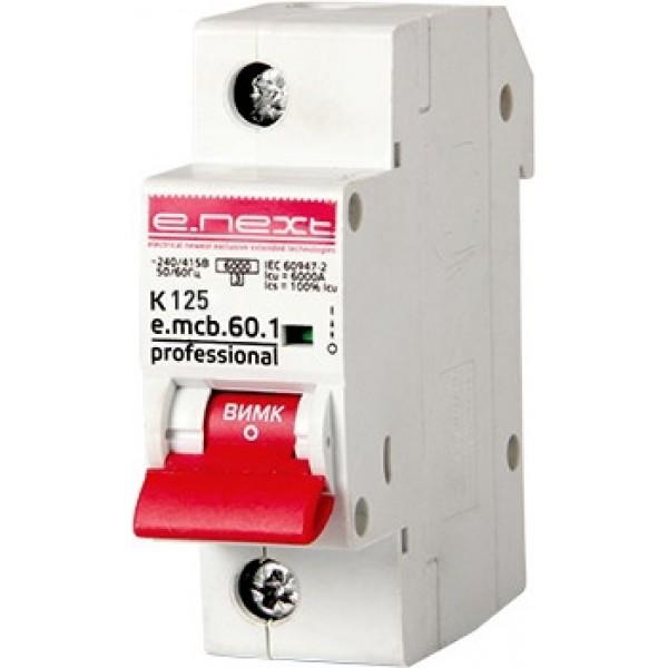 Автоматический выключатель e.mcb.pro.60.1.K 125 new, 1р, 125А, К, 6кА