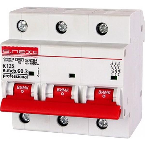 Автоматический выключатель e.mcb.pro.60.3.K 125 new, 3р, 125А, К, 6кА