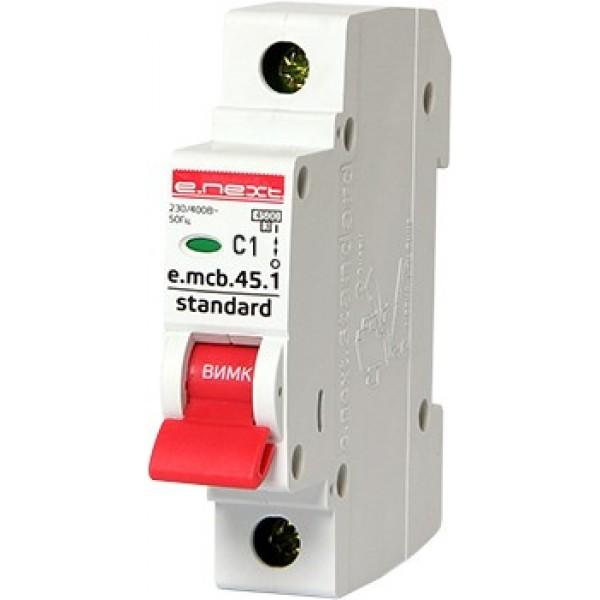 Автоматический выключатель e.mcb.stand.45.1.C 1, 1р, 1А, С, 4,5кА