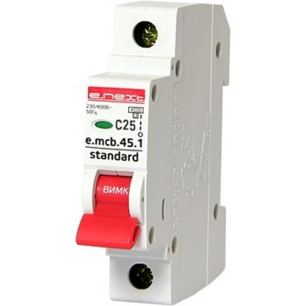 Автоматический выключатель e.mcb.stand.45.1.C25, 1р, 25А, С, 4,5кА