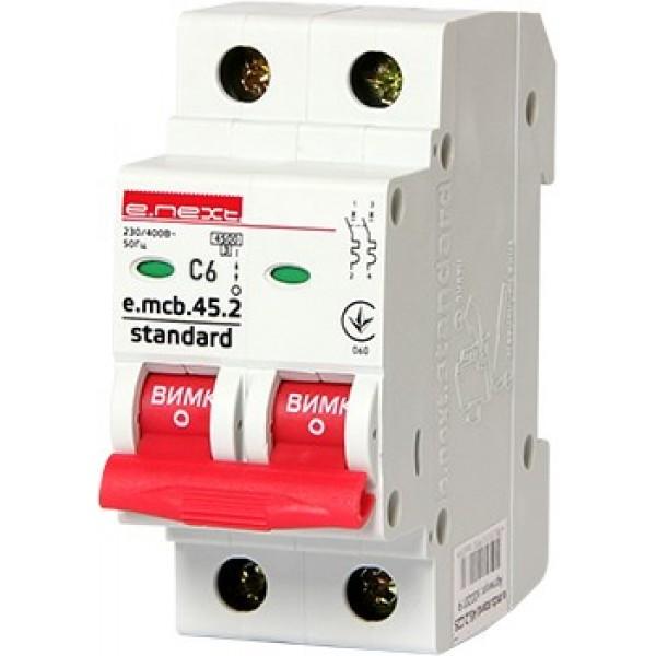 Автоматический выключатель e.mcb.stand.45.2.C 6, 2р, 6А, С, 4,5кА