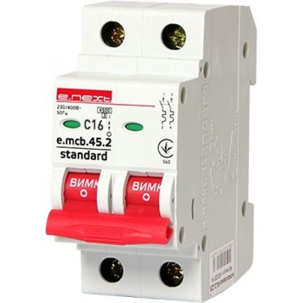 Автоматический выключатель e.mcb.stand.45.2.C16, 2р, 16А, С, 4,5кА