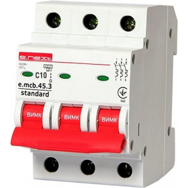 Автоматический выключатель e.mcb.stand.45.3.C10, 3р, 10А, С, 4,5кА