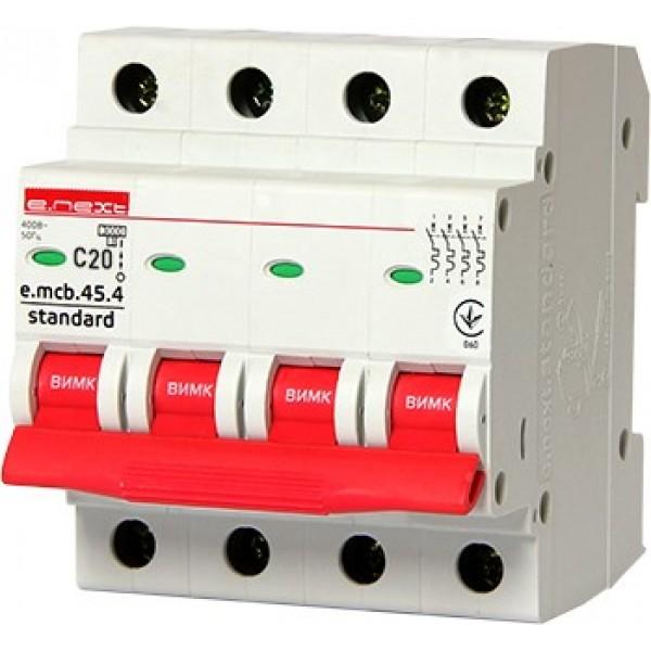 Автоматический выключатель e.mcb.stand.45.4.C20, 4р, 20А, С, 4,5кА