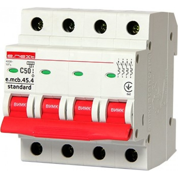 Автоматический выключатель e.mcb.stand.45.4.C50, 4р, 50А, С, 4,5кА