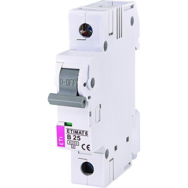 Автоматический выключатель ETI6  1р В 25А