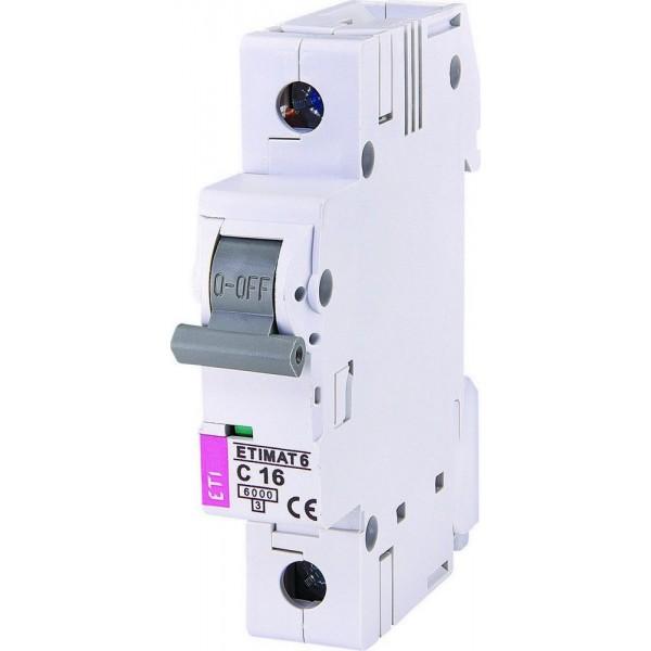 Автоматический выключатель ETI6  1р С 16А