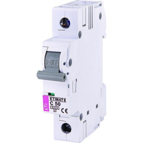 Автоматический выключатель ETI6  1р С 50А