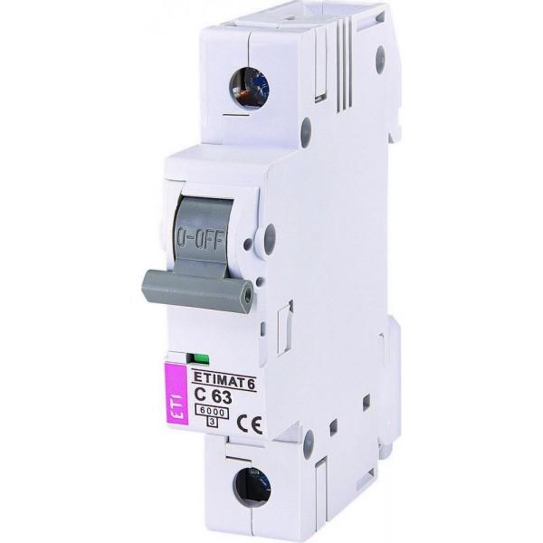 Автоматический выключатель ETI6  1р С 63А