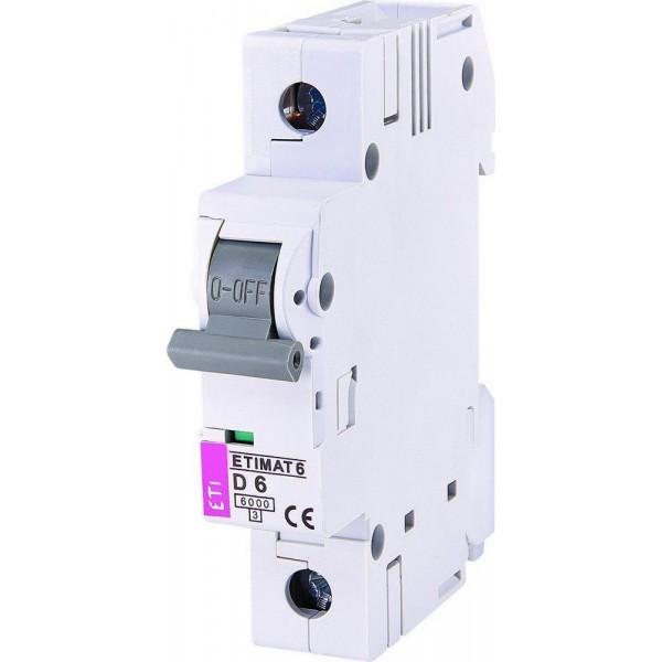 Автоматический выключатель ETI6  1р D  6А