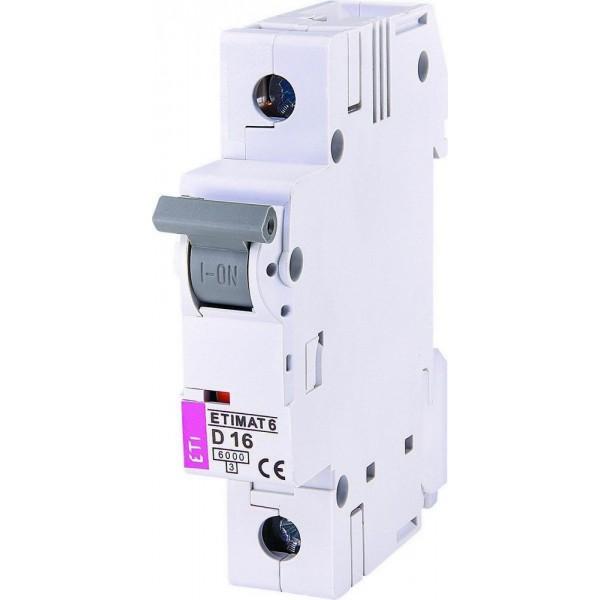 Автоматический выключатель ETI6  1р D 16А
