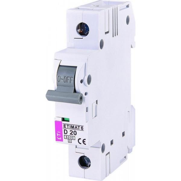 Автоматический выключатель  ETI6  1р D 20А