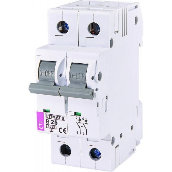 Автоматический выключатель ETI6  2р В 25А