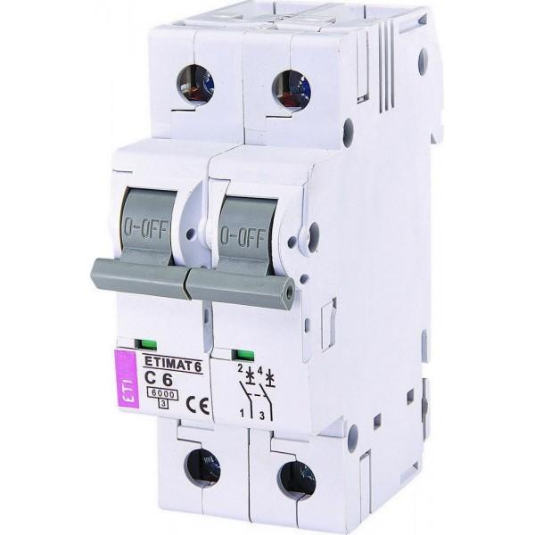 Автоматический выключатель ETI6  2р С  6А