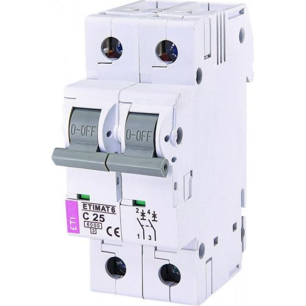 Автоматический выключатель ETI6  2р С 25А