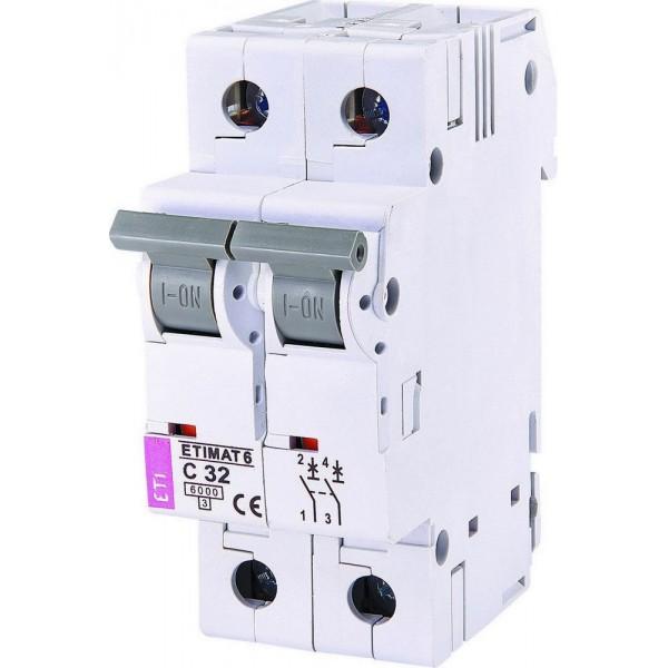 Автоматический выключатель ETI6  2р С 32А