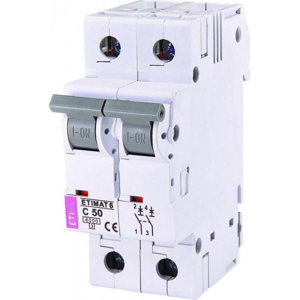 Автоматический вылючатель ETI6  2р С 50А