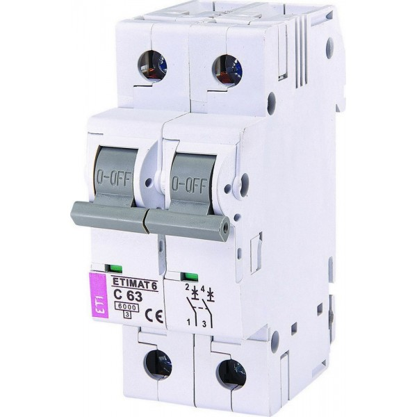 Автоматический выключатель ETI6  2р С 63А