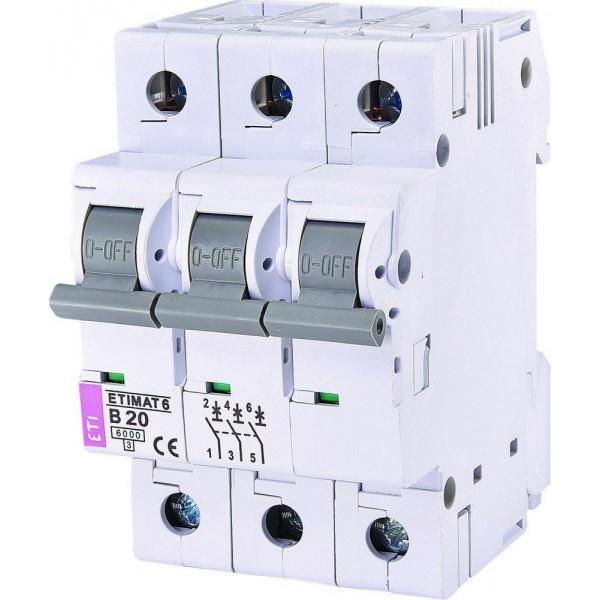 Автоматический выключатель  ETI6  3р В 20А