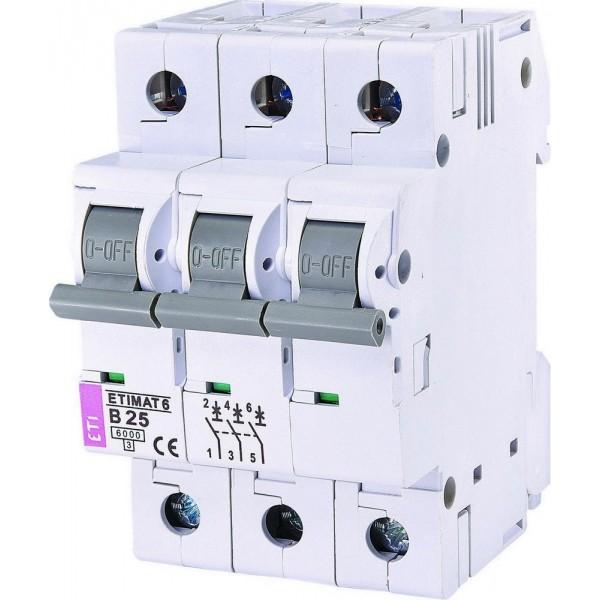 Автоматический выключатель  ETI6  3р В 25А
