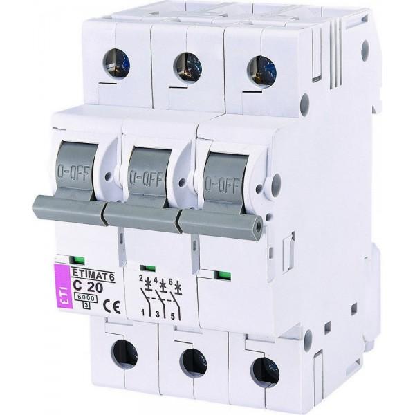 Автоматический выключатель  ETI6  3р С 20А