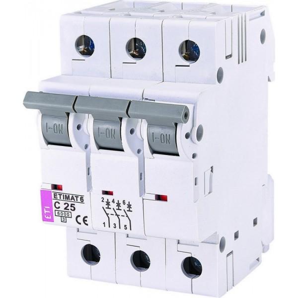 Автоматический выключатель ETI6  3р С 25А