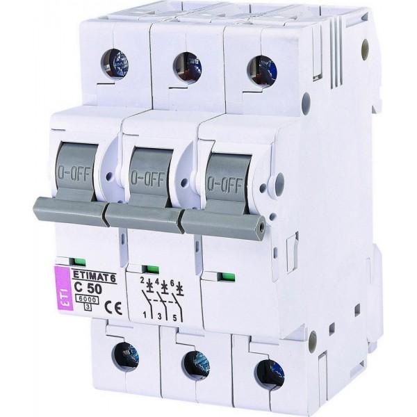 Автоматический выключатель ETI6  3р С 50А