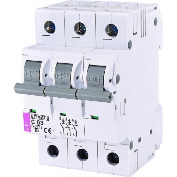 Автоматический выключатель  ETI6  3р С 63А