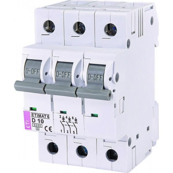 Автоматический выключатель ETI6  3р D 10А