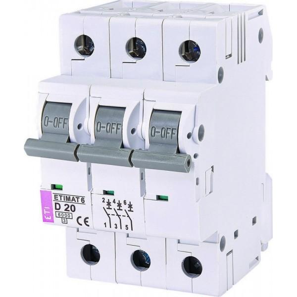 Автоматический выключатель ETI6  3р D 20А