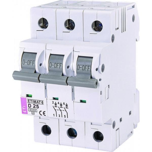 Автоматический выключатель ETI6  3р D 25А