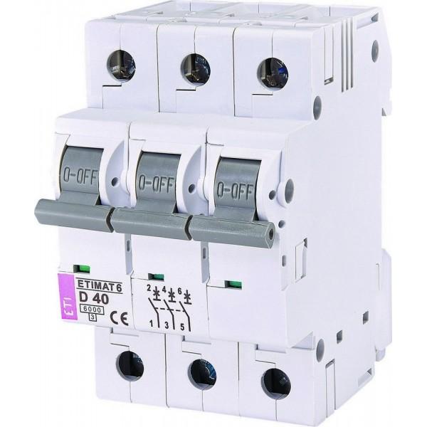 Автоматический выключатель  ETI6  3р D 40А