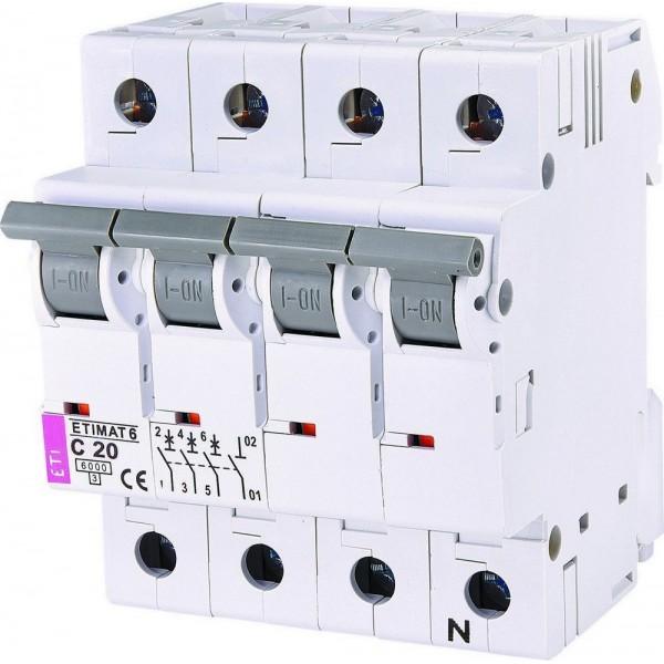 Автоматический выключатель ETI6  3р+N С 20А