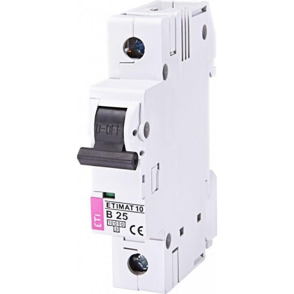 Автоматический выключатель  ETI10  1р В 25А