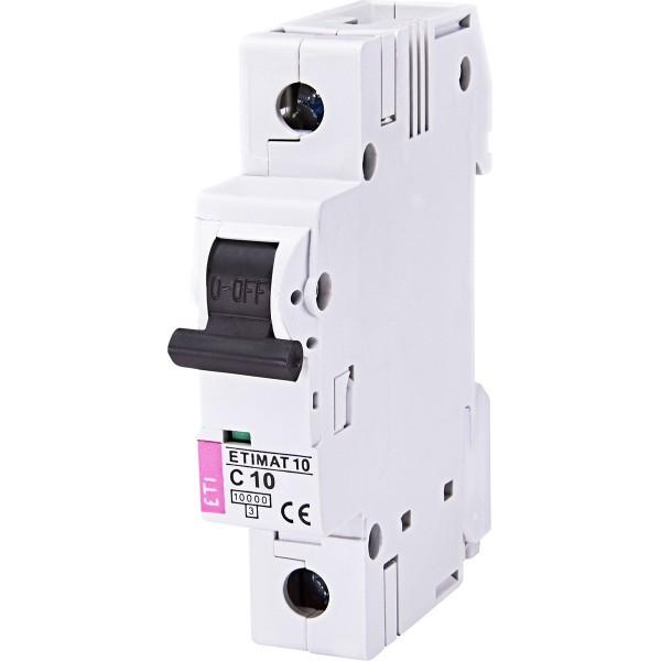 Автоматический выключатель ETI10  1р C 10А