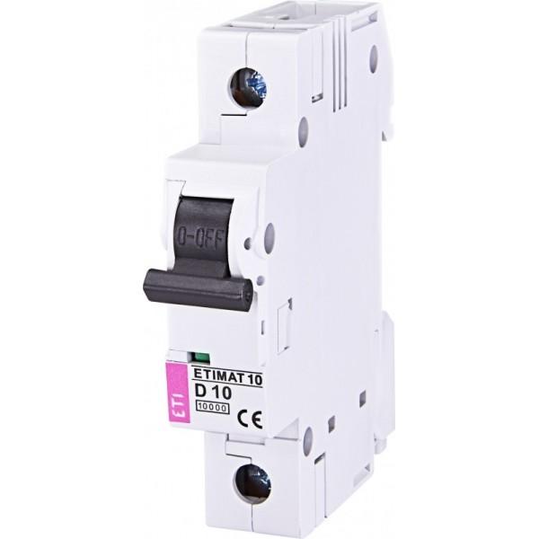 Автоматический выключатель ETI10  1р D 10А
