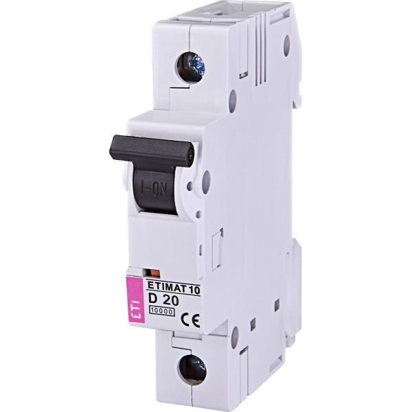 Автоматический выключатель ETI10  1р D 20А