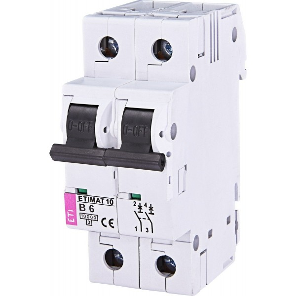 Автоматичекий выключатель ETI10  2р В  6А