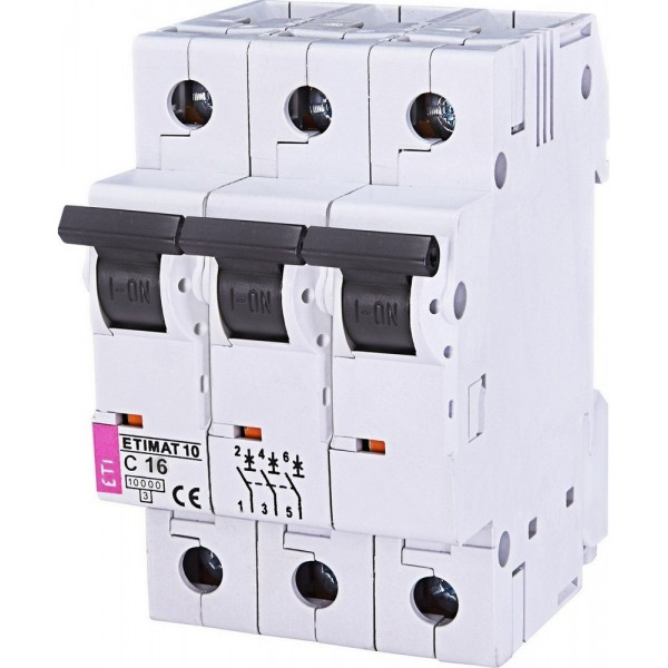 Автоматический выключатель ETI10  3р C 16А