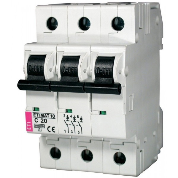 Автоматичний вимикач ETI10  3р C 20А