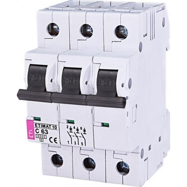 Автоматический выключатель ETI10  3р C 63А
