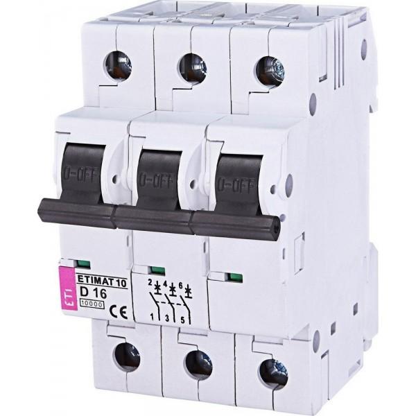 Автоматический выключатель ETI10  3р D 16А