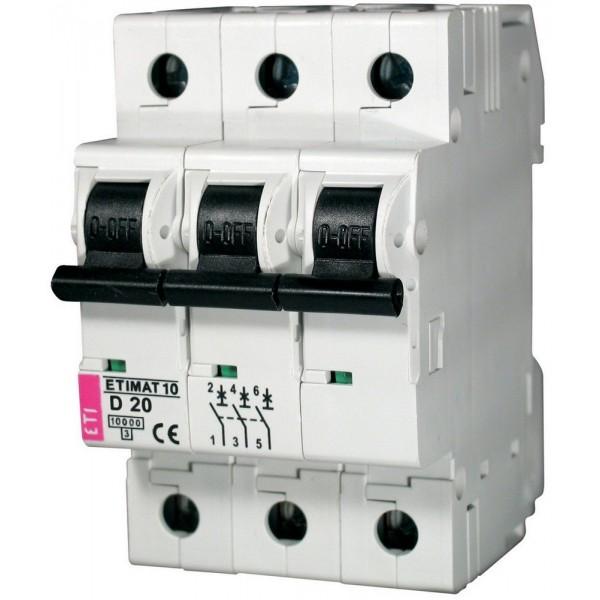 Автоматический выключатель ETI10  3р D 20А