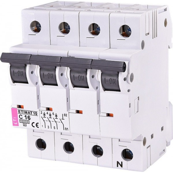 Автоматический выключатель ETI10  3р+N С 16А