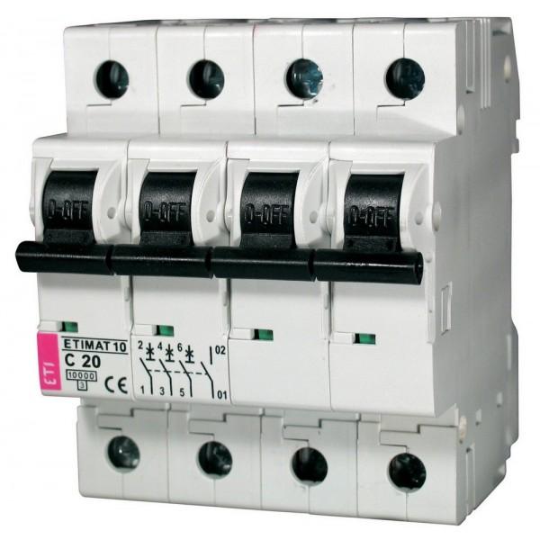Автоматический выключатель ETI10  3р+N С 20А