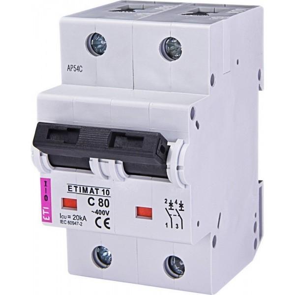 Автоматический выключатель ETI10  2р C  80А