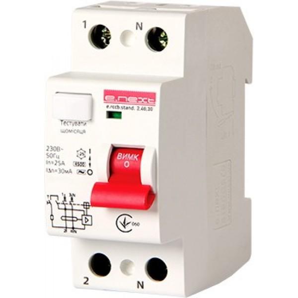 Выключатель дифференциального тока e.rccb.stand.2.40.10 2р, 40А, 10mA
