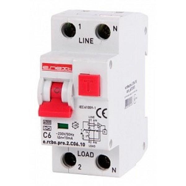 Выключатель дифференциального тока E.NEXT e.rcbo.pro.2.С06.10