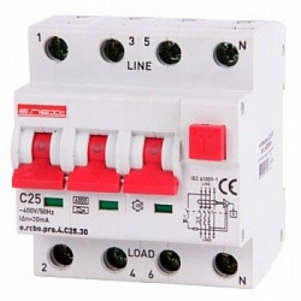 Дифавтомат e.rcbo.pro.4.С25.30, 3P+N, 25А, С, тип A, 30mA