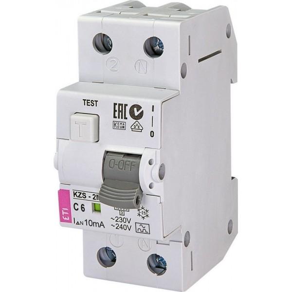Дифференциальный автоматический выключатель KZS-2M C 6/0,01 10kA